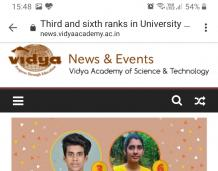 Third and sixth ranks in University