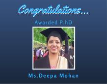 Ms. Deepa Mohan awarded Ph.D from NIT Calicut