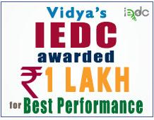 Vidya's IEDC awarded Rs 1 Lakh for best performance